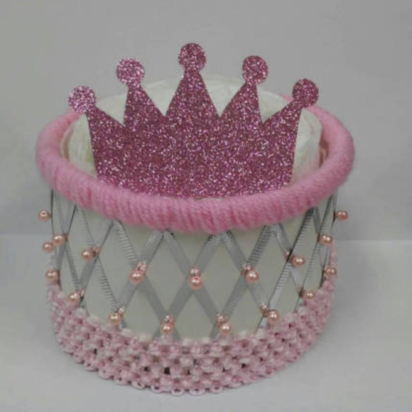 PINK PRINCESS CROWNS YELLOW GIRL DIAPER BASSINET BABY SHOWER DECORATION